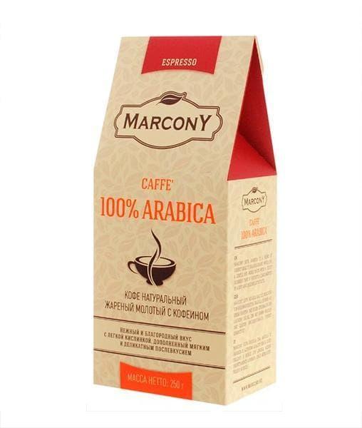 Кофе молотый Marcony Espresso Caffe 100% Arabica 250 гр (0,25 кг)