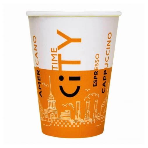 Бумажный стакан EcoCups Д-City ОРАНЖЕВЫЙ d=80 250мл