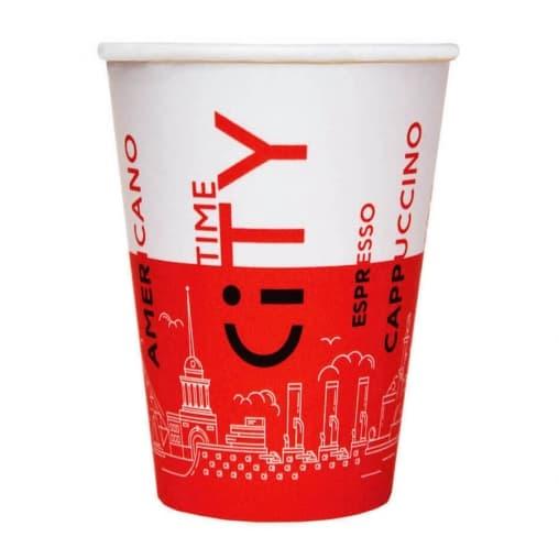 Бумажный стакан EcoCups Д-City КРАСНЫЙ d=80 250мл