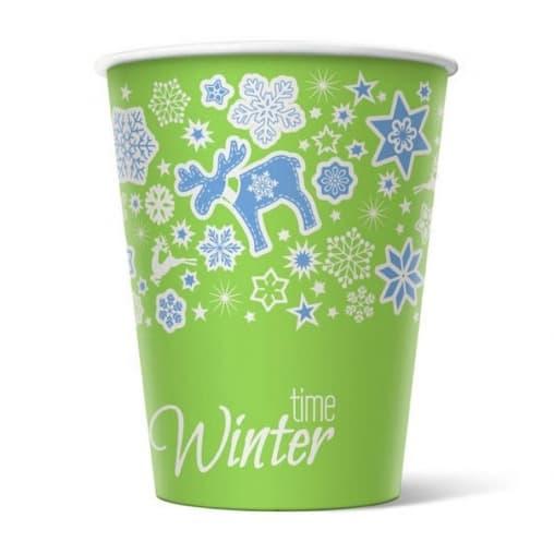 Бумажный цветной стакан для кофе и горячих напитков Winter Time d=90 300мл – цена, описание, фото