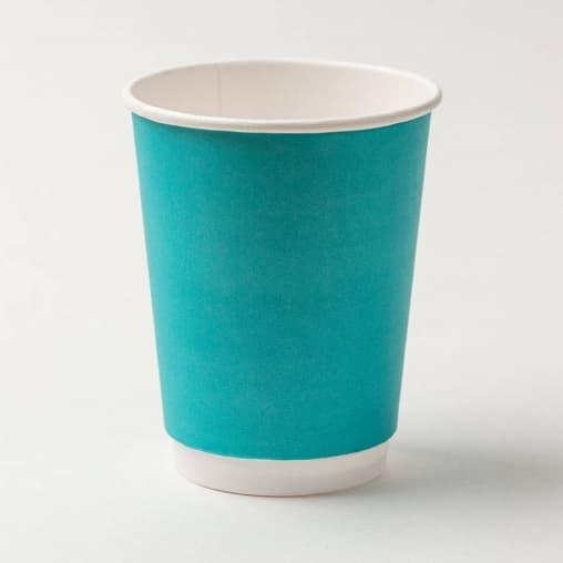 Бумажный стакан 2-слойный Бирюзовый d=90 350мл