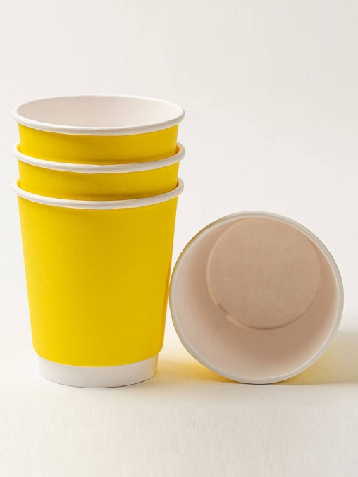 Бумажный стакан 2-слойный Жёлтый d=80 250мл