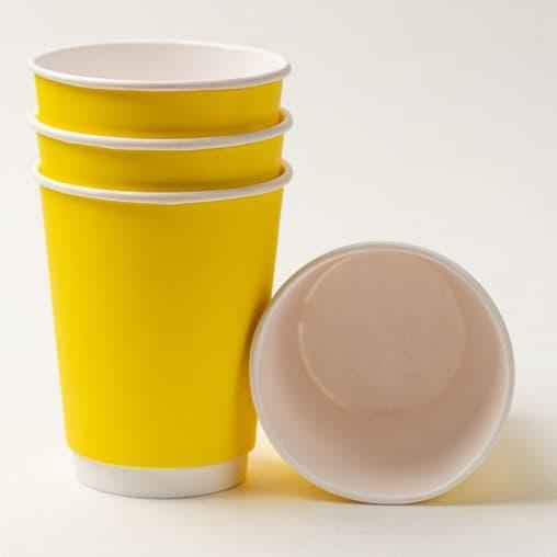 Бумажный стакан 2-слойный Желтый d=90 350мл