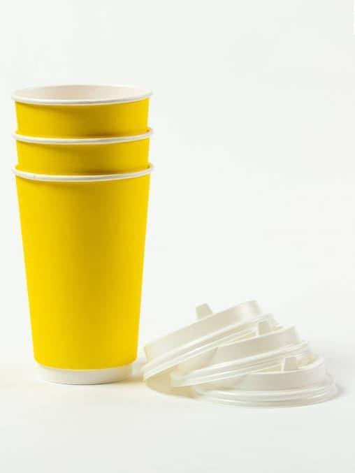 Бумажный стакан 2-слойный Жёлтый d=90 450мл