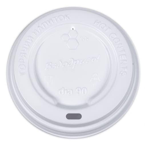 Крышка для стакана Белая d=90 с надписью