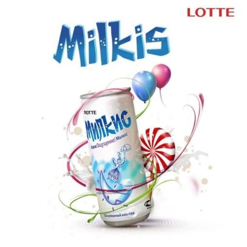 Газированный напиток Lotte Милкис Оригинальный 250мл ж/б