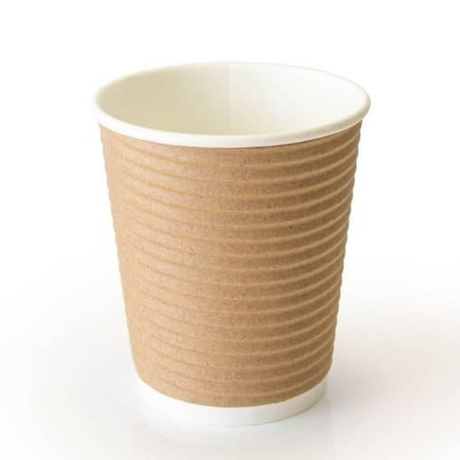 Бумажный стакан гофрированный Крафт d=90 300мл