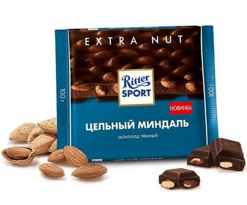 Шоколад Ritter Sport темный с цельным миндалем 100г