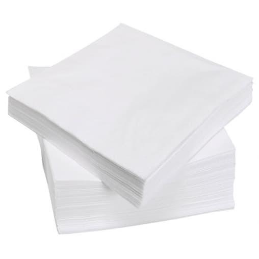 Салфетки бумажные 1-слойные белые с тиснением 24*24см 65л