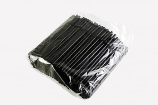 Пластиковые трубочки Черные с изгибом 210мм d=5мм