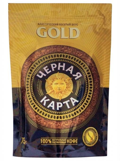 Кофе раств. Черная Карта Gold пакет 75 г