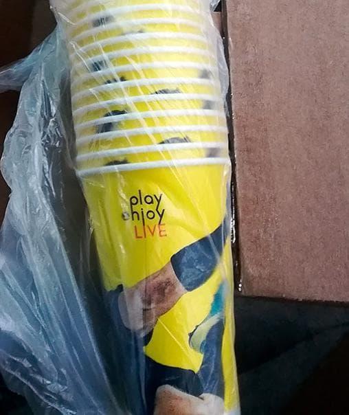 Бумажный стакан Football цветной (100 шт) d=80 300мл