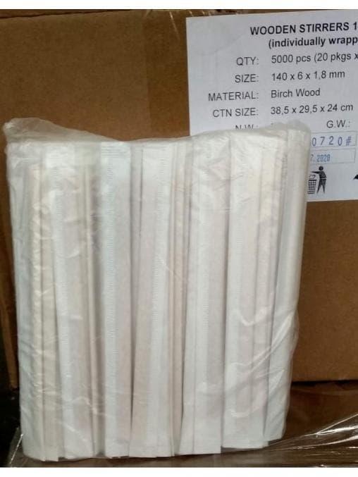 Размешиватель деревянный в инд. упаковке 140мм
