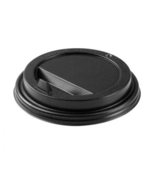 Крышка для стакана черная диаметр 80мм с клапаном (100 шт) - цена, описание, фото