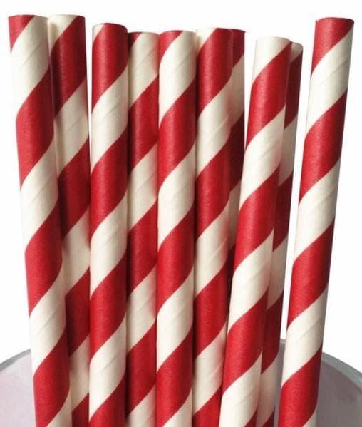 Бумажные трубочки бело-красные 197мм d=7мм (500 шт)