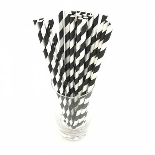 Бумажные трубочки бело-черные 197мм d=7мм