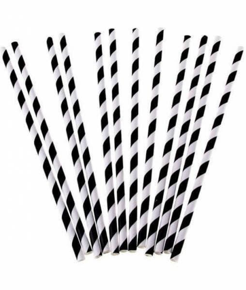 Бумажные трубочки бело-черные 197мм d=7мм (500 шт)
