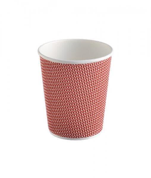 Трехслойный стакан гофрированный 240 мл красный (100 шт)