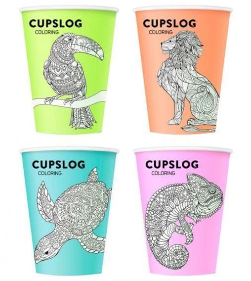 Бумажный стакан Cupslog Coloring (100 шт) d=90 300мл