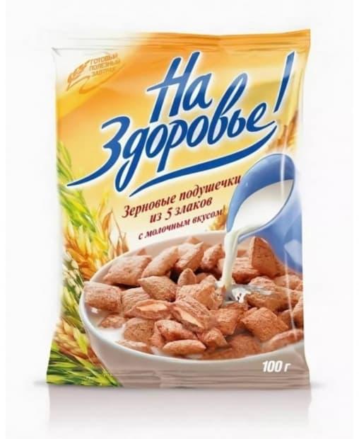 Злаковые подушечки На Здоровье! с молочным вкусом 100 г
