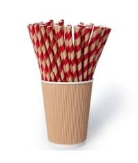 Бумажные трубочки Леденец крафт-красная полоска 200мм d=8мм (150 шт)