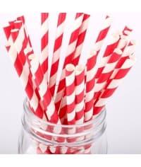 Бумажные трубочки Леденец бело-красная полоска 200мм d=6мм (250 шт)