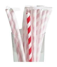 Бумажные трубочки Леденец бело-красные 200мм d=6мм в инд. упаковке