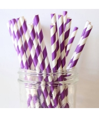 Бумажные трубочки Фуксия бело-фиолетовая полоска 200мм d=6мм (250 шт)