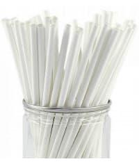 Бумажные трубочки для бутылок Белые 230 мм d=6мм (250 шт)