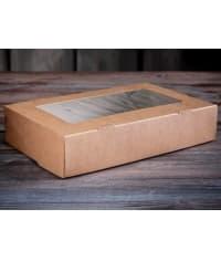 Ланч-бокс с откидной крышкой с окошком 1000 мл 200x120x40мм крафт картон