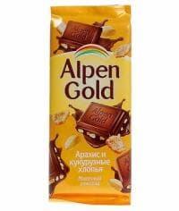 Шоколад Альпен Голд Арахис и Кукурузные Хлопья Alpen Gold 90 грамм