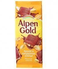 Шоколад Альпен Голд Арахис и Кукурузные Хлопья Alpen Gold 90гр.