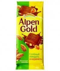 Шоколад Альпен Голд Соленый Миндаль и Карамель Alpen Gold 90гр.