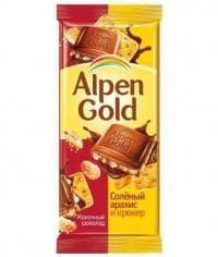 Шоколад Альпен Голд Соленый Арахис и Крекер Alpen Gold 90гр.