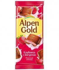 Шоколад Альпен Голд Клубника с Йогуртом Alpen Gold 90гр.