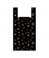 Пакет-майка черный Звезды 36+18*60 см 35 мкм