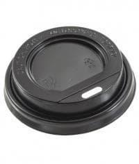 Крышка для стакана диаметр 80мм чёрная с открытым питейником (100 шт)