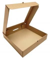 Коробка для пирога с окном 300x300x60 мм крафт-крафт