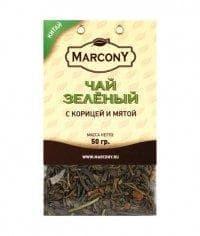 Чай листовой Marcony зеленый с корицей и мятой 50г