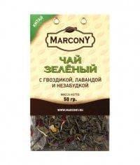 Чай листовой Marcony зеленый с гвоздикой, лавандой и незабудкой 50г