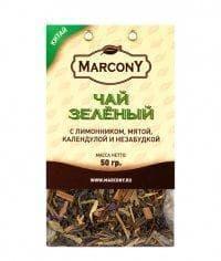 Чай листовой Marcony зеленый с лимонником, мятой, календулой и незабудкой 50г