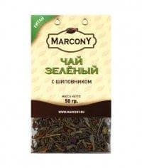 Чай листовой Marcony зеленый с шиповником 50г
