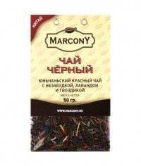 Чай чёрный листовой Marcony юньнаньский чай с незабудкой, лавандой и гвоздикой 50г