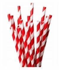 Бумажные трубочки бело-красные 197мм d=7мм