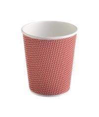 Трехслойный стакан гофрированный 360 мл красный (100 шт)