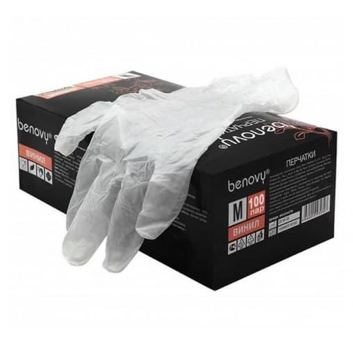 Перчатки BENOVY смотровые неопудр. винил р. M прозрачные